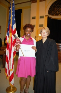 Citizen Esther Lemaiyan and Common Pleas Judge of Lancaster County Leslie Garby
